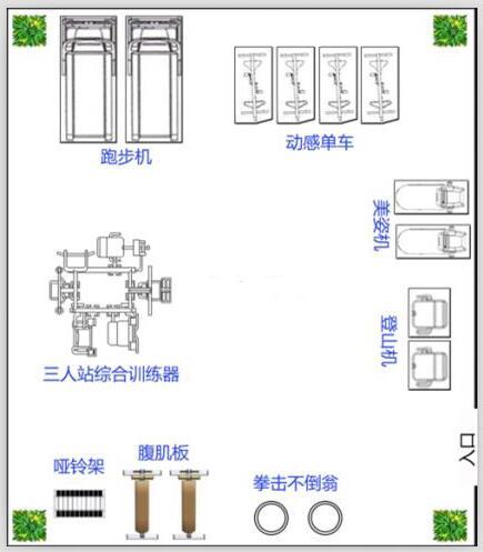 50平方米单位健身房设计图