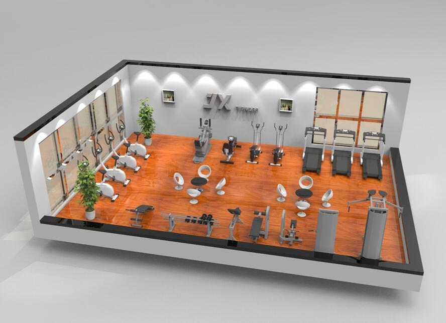 100平米单位健身房效果图