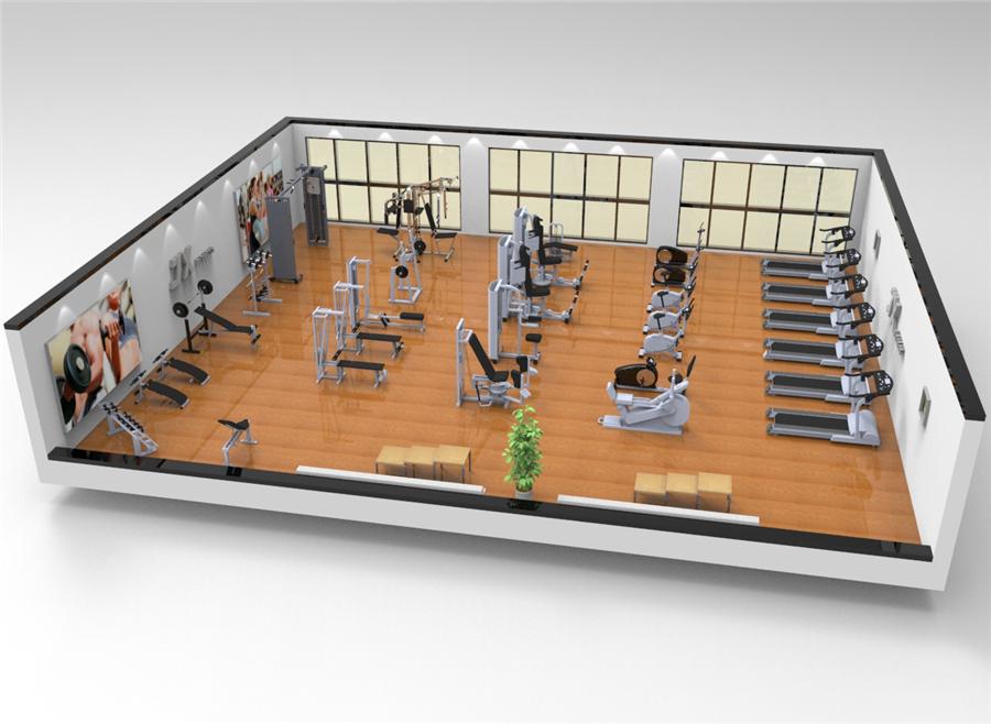 200平米单位健身房效果图